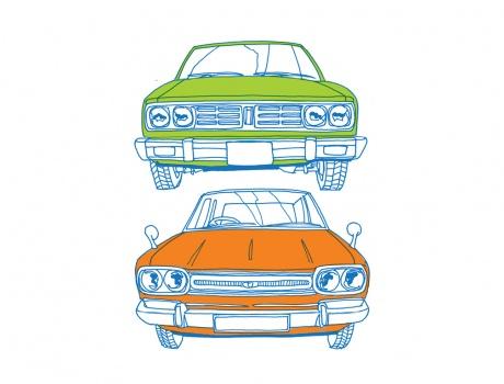 Vintage car stack